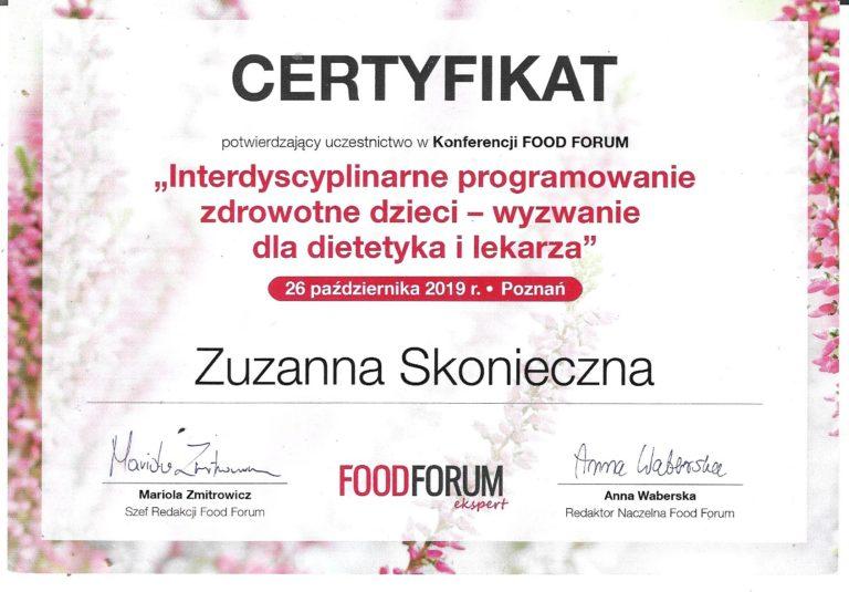 certyfikat Zuzanna Skonieczna
