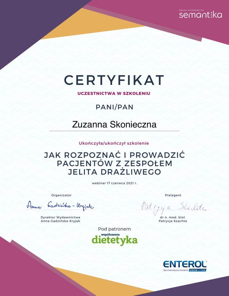 certyfikat zespół jelita drażliwego-1